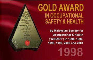 Gold Award in Occupational Safety & Healthy 1998