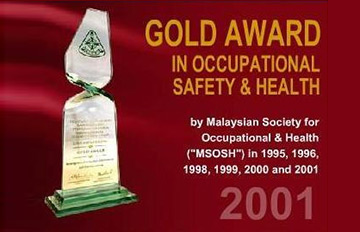 Gold Award in Occupational Safety & Healthy 2001